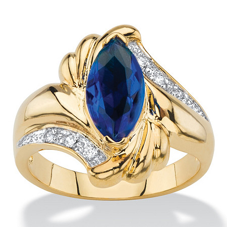 Marquise-Cut Simulated Blue Sapphire and Cubic Zirconia Accent Bypass Ring 2.28 TCW 14k Yellow Gold-Plated at PalmBeach Jewelry