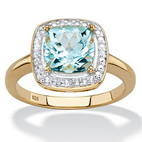 2.64 TCW Genuine Cushion-Cut Sky Blue Topaz and Diamond Accent Pave-Style Halo Ring in 14k Yellow Gold over Sterling Silver