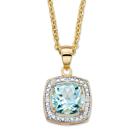 2.62 TCW Genuine Cushion-Cut Sky Blue Topaz Diamond AccentHalo Pendant Necklace in 14k Yellow Gold over Sterling Silver  18