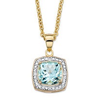 "2.62 TCW Genuine Cushion-Cut Sky Blue Topaz Diamond AccentHalo Pendant Necklace in 14k Yellow Gold over Sterling Silver 18""-20"""
