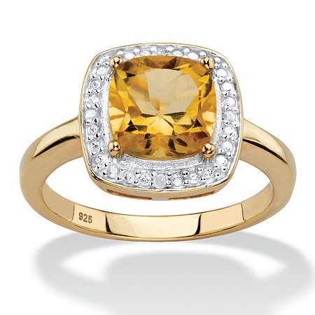 1.83 TCW Genuine Cushion-Cut Yellow Citrine and Diamond Accent Pave-Style Halo Ring in 14k Yellow Gold over Sterling Silver at PalmBeach Jewelry