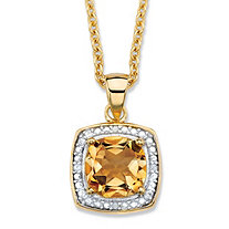 "1.83 TCW Genuine Cushion-Cut Yellow Citrine and Diamond Accent Pave-Style Halo Necklace in 14k Yellow Gold over Sterling Silver 18""-20"""