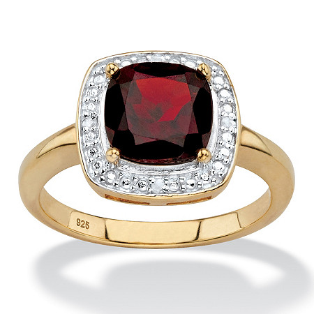 2.20 TCW Genuine Cushion-Cut Red Garnet and Diamond Accent Pave-Style Halo Ring in 14k Yellow Gold over Sterling Silver at PalmBeach Jewelry