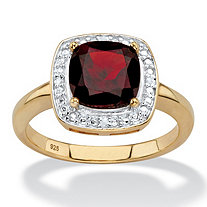 SETA JEWELRY 2.20 TCW Genuine Cushion-Cut Red Garnet and Diamond Accent Pave-Style Halo Ring in 14k Yellow Gold over Sterling Silver
