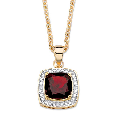 "2.20 TCW Genuine Cushion-Cut Red Garnet and Diamond Accent Pave-Style Halo Pendant Necklace in 14k Gold over Sterling Silver 18""-20"" at PalmBeach Jewelry"