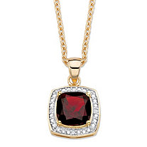 "2.20 TCW Genuine Cushion-Cut Red Garnet and Diamond Accent Pave-Style Halo Pendant Necklace in 14k Gold over Sterling Silver 18""-20"""