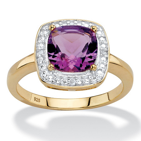 1.82 TCW Genuine Cushion-Cut Purple Amethyst and Diamond Accent Pave-Style Halo Ring in 14k Yellow Gold over Sterling Silver at PalmBeach Jewelry