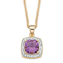 "1.82 TCW Genuine Cushion-Cut Purple Amethyst and Diamond Accent Pave-Style Halo Pendant Necklace in 14k Gold over Sterling Silver 18""-20"""