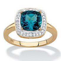 SETA JEWELRY 2.62 TCW Genuine Cushion-Cut London Blue Topaz and Diamond Accent Pave-Style Halo Ring in 14k Yellow Gold over Sterling Silver