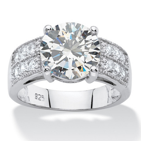 4.40 TCW Round White Cubic Zirconia Wedding Engagement Ring in Platinum over Sterling Silver at PalmBeach Jewelry