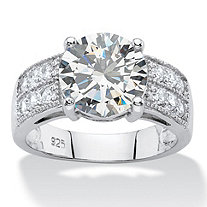 4.40 TCW Round White Cubic Zirconia Wedding Engagement Ring in Platinum over Sterling Silver
