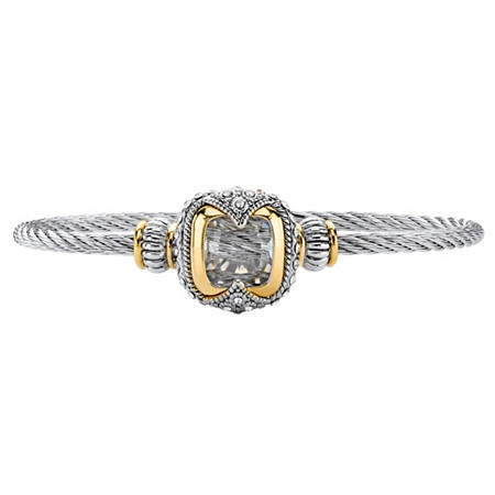 Cushion-Cut White Crystal Two-Tone Magnetic Twisted Cable Bangle Bracelet in Silvertone and 14k Yellow Gold-Plated Accents 7