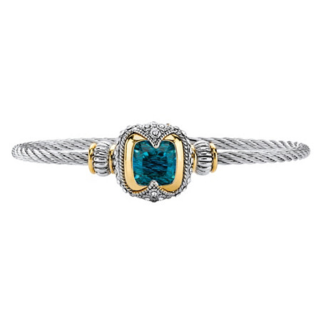 Cushion-Cut Simulated Blue Topaz Two-Tone Magnetic Twisted Cable Bangle Bracelet in Silvertone and 14k Yellow Gold-Plated Accents 7