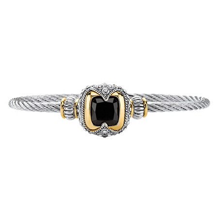 Cushion-Cut Simulated Black Onyx Two-Tone Magnetic Twisted Cable Bangle Bracelet in Silvertone and 14k Yellow Gold-Plated Accents 7