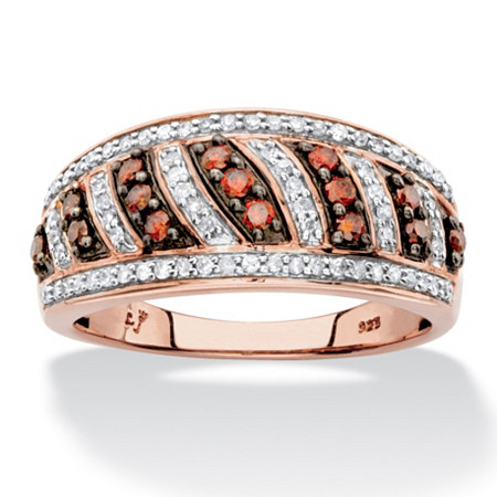 1/2 TCW Round Red and White Diamond Diagonal Row Ring Band in Chocolate and Rose Gold over Sterling Silver at PalmBeach Jewelry