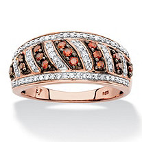 SETA JEWELRY 1/2 TCW Round Red and White Diamond Diagonal Row Ring Band in Chocolate and Rose Gold over Sterling Silver