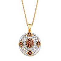 Diamond Vintage-Inspired Pendant Necklace In 14k Yellow Gold And Chocolate Over Sterling Silver ONLY $84.99