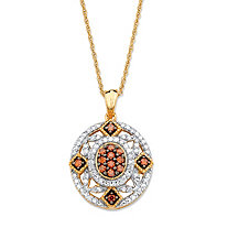 SETA JEWELRY 1/3 TCW Red and White Diamond Vintage-Inspired Pendant Necklace in 14k Yellow Gold and Chocolate over Sterling Silver 18