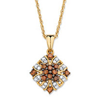 1/3 TCW Red and White Diamond Vintage-Inspired Pendant Necklace in 14k Yellow Gold and Chocolate over Sterling Silver 18