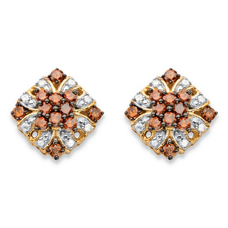 3/8 TCW Red and White Diamond Vintage-Inspired Stud Earrings in 14k Yellow Gold and Chocolate over Sterling Silver at PalmBeach Jewelry
