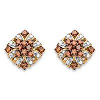 Red And White Diamond Vintage-Inspired Stud Earrings In 14k Yellow Gold And Chocolate Over Sterling Silver ONLY $59.99