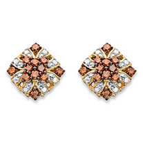 3/8 TCW Red and White Diamond Vintage-Inspired Stud Earrings in 14k Yellow Gold and Chocolate over Sterling Silver