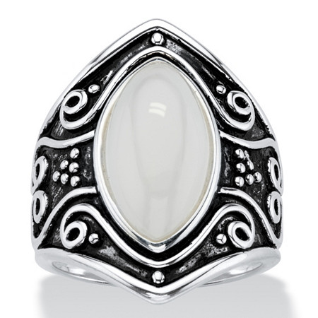 Marquise-Cut Simulated Moonstone Boho Scroll Cocktail Ring in Antiqued Sterling Silver at PalmBeach Jewelry
