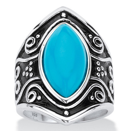 Marquise-Cut Simulated Blue Turquoise Boho Scroll Cocktail Ring in Antiqued Sterling Silver at PalmBeach Jewelry