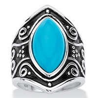 Marquise-Cut Turquoise Glass Boho Scroll Cocktail Ring ONLY $19.75