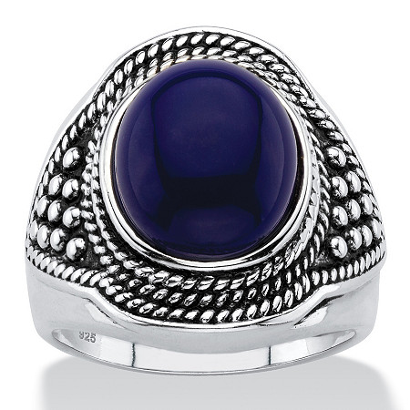 Oval-Cut Simulated Blue Lapis Cabochon Boho Beaded Cocktail Ring in Antiqued Sterling Silver at PalmBeach Jewelry