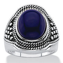 Oval-Cut Simulated Blue Lapis Cabochon Boho Beaded Cocktail Ring in Antiqued Sterling Silver