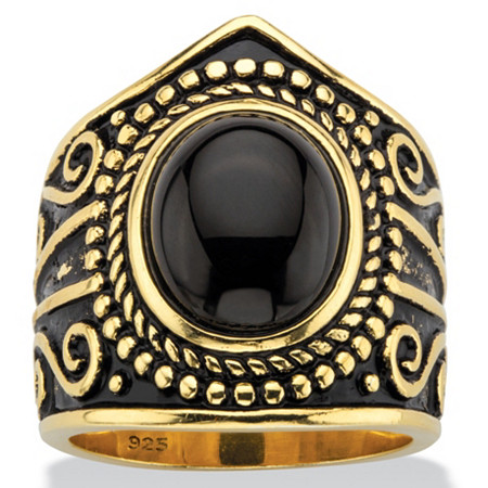 Oval-Cut Black Glass Cabochon Boho Beaded Cocktail Ring in Antiqued 18k Yellow Gold over Sterling Silver at PalmBeach Jewelry