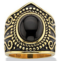 Oval-Cut Black Glass Cabochon Boho Beaded Cocktail Ring in Antiqued 18k Yellow Gold over Sterling Silver