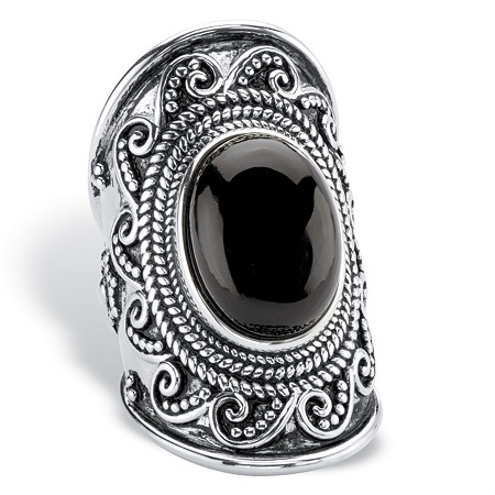 Oval-Cut Simulated Black Onyx Cabochon Boho Beaded Wave Cocktail Ring in Antiqued Sterling Silver at PalmBeach Jewelry