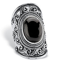Oval-Cut Simulated Black Onyx Cabochon Boho Beaded Wave Cocktail Ring in Antiqued Sterling Silver
