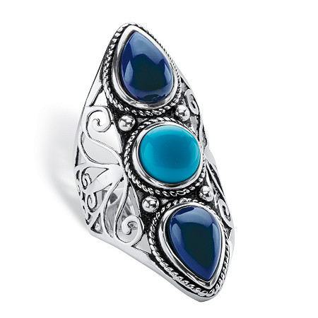 Round and Pear-Cut Simulated Turquoise and Blue Lapis Boho Scroll Cocktail Ring in Antiqued Sterling Silver at PalmBeach Jewelry