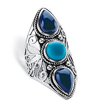 Round and Pear-Cut Simulated Turquoise and Sapphire Boho Scroll Cocktail Ring in Antiqued Sterling Silver