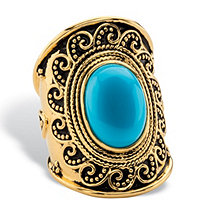 Oval-Cut Simulated Blue Turquoise Cabochon Antiqued Boho Beaded Wave Cocktail Ring in 18k Gold over Sterling Silver