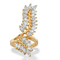 4.10 TCW Marquise-Cut Cubic Zirconia Elongated Leaf Wrap Bypass Cocktail Ring 14k Yellow Gold-Plated