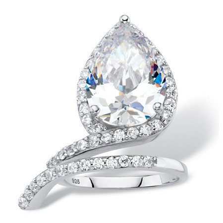 6.12 TCW Pear-Cut White Cubic Zirconia Halo Wrap Cocktail Ring in Platinum over Sterling Silver at PalmBeach Jewelry