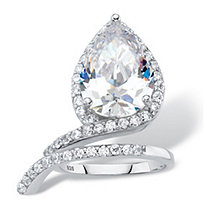 6.12 TCW Pear-Cut White Cubic Zirconia Halo Wrap Cocktail Ring in Platinum over Sterling Silver