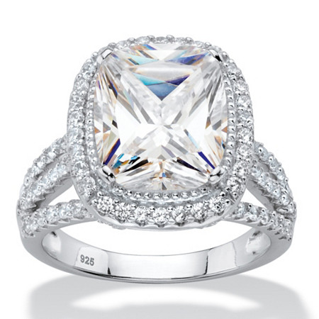 5.63 TCW Cushion-Cut White Cubic Zirconia Triple Split-Shank Halo Bridal Engagement Ring in Platinum over Sterling Silver at PalmBeach Jewelry