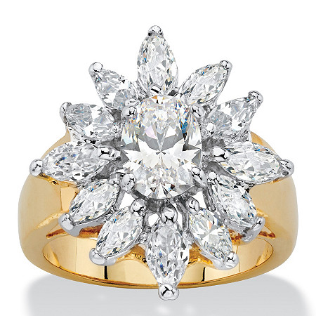 3.41 TCW Oval and Marquise-Cut White Cubic Zirconia Starburst Halo Cocktail Ring 14k Yellow Gold-Plated at PalmBeach Jewelry
