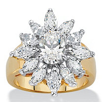 3.41 TCW Oval and Marquise-Cut White Cubic Zirconia Starburst Halo Cocktail Ring 14k Yellow Gold-Plated