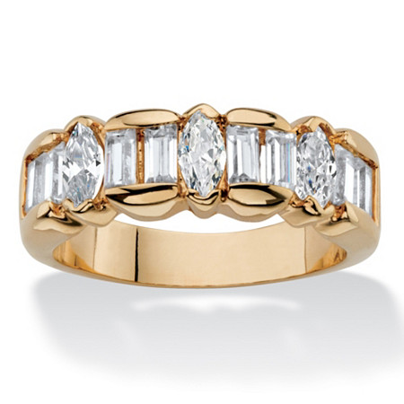 1.87 TCW Marquise and Baguette-Cut White Cubic Zirconia Anniversary Ring Band 14k Yellow Gold-Plated at PalmBeach Jewelry
