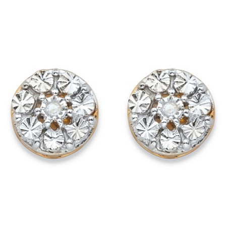 Round White Diamond Accent Diamond-Cut Stud Earrings in 14k Yellow Gold over Sterling Silver at PalmBeach Jewelry