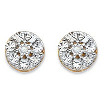 Round White Diamond Accent Diamond-Cut Stud Earrings in 14k Yellow Gold over Sterling Silver