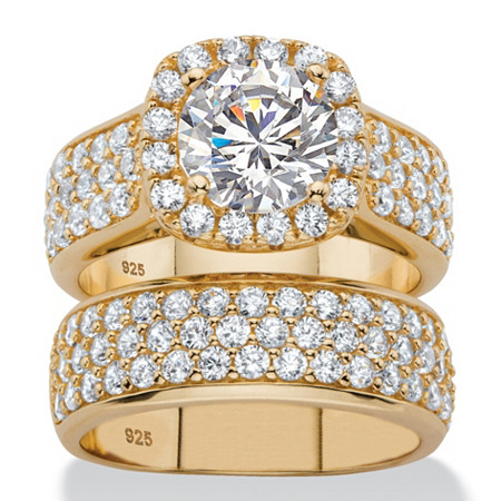 4.43 TCW Round White Cubic Zirconia 2-Piece Halo Bridal Wedding Ring Set in 14k Yellow Gold over Sterling Silver at PalmBeach Jewelry