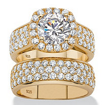 4.43 TCW Round White Cubic Zirconia 2-Piece Halo Bridal Wedding Ring Set in 14k Yellow Gold over Sterling Silver