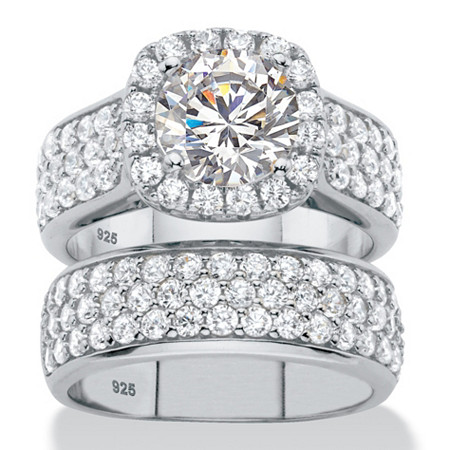 4.43 TCW Round Cubic Zirconia 2-Piece Halo Bridal Wedding Ring Set in Platinum over Sterling Silver at PalmBeach Jewelry